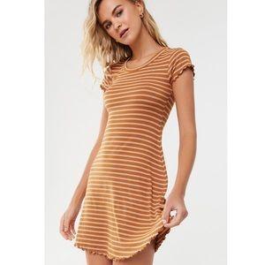 Striped Lettuce-Edge Dress